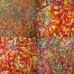 Humour, Paradox, Change: Red 1, oil paint on canvas, 6x7ft (details)