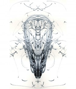 Skull, pen on paper digitally edited, A4