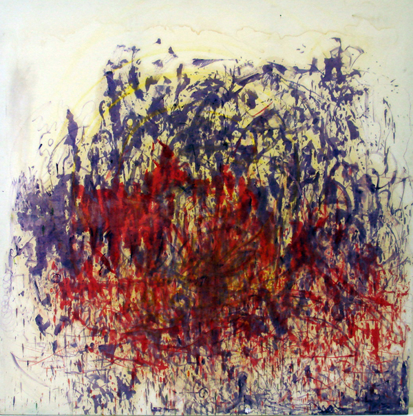 The Purple is Dancing and the Red is Very Proud, oil paint on canvas, 2x2m
