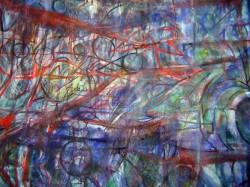 The Back Bone, oil paint on gazebo, 5x5ft, (detail)