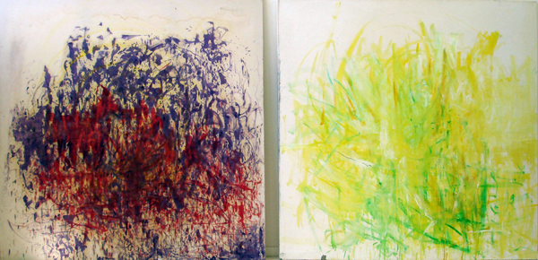 The Purple is Dancing and The Red is Very Proud & Summer Painting (2007), oil paint on canvas, 2x2m
