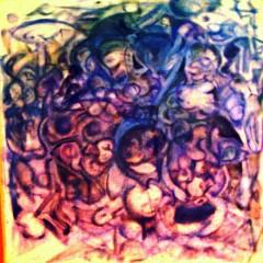 Sacrifice Skull: Blue, oil paint on canvas, 60x60cm