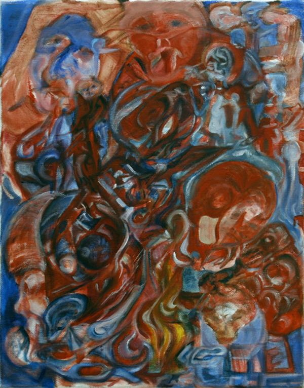 Sacrifice Skull: Red, oil paint on canvas, 27x42cm